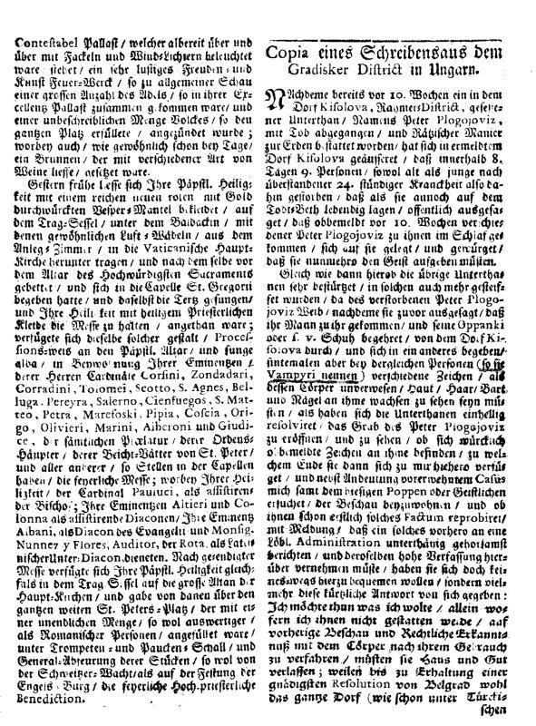 """Izveštaj austrijskog službenika objavljen u bečkim novinama """"Wienerisches Diarium"""" 1725."""